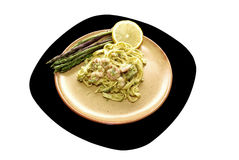 Shrimp with asparagus and egg noodles Royalty Free Stock Photo