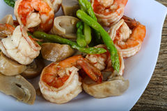 Shrimp and asparagus Royalty Free Stock Photography