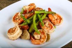 Shrimp and asparagus Stock Photography