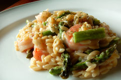 Shrimp and Asparagus Risotto Royalty Free Stock Photography
