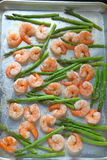 Shrimp with asparagus sheet pan dinner Royalty Free Stock Photo