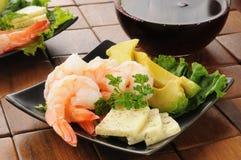 Shrimp and avocado Stock Image