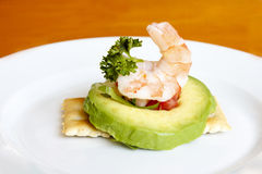Shrimp avocado appetizer royalty free stock photos