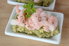 Shrimp and avocado Royalty Free Stock Images