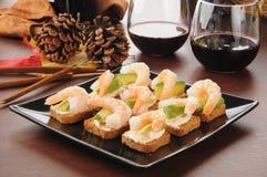 Shrimp avocado canapes Stock Image