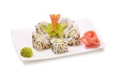 Shrimp avocado rolls Stock Photos