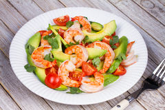Shrimp and avocado salad. Royalty Free Stock Images