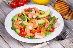 Shrimp and avocado salad. Shrimp and avocado and cherry tomatoes salad Stock Photography