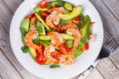 Shrimp and avocado salad. Stock Photos