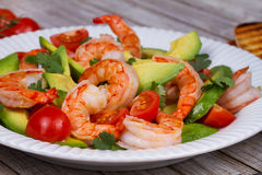 Shrimp and avocado salad. Stock Photo