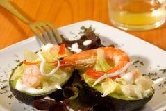 Shrimp avocado saldad. Shrimp avocado salad with low calorie dressing Stock Photos