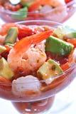 Shrimp with Avocado Salsa Sauce. Cocktail Shrimp with Avocado Salsa Sauce closeup stock photography