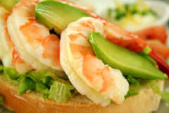 Shrimp And Avocado Sandwich Royalty Free Stock Images