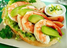 Shrimp And Avocado Sandwich Royalty Free Stock Image