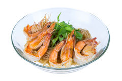 Shrimp baked with vermicelli Stock Photo