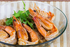 Shrimp baked with vermicelli Royalty Free Stock Photo