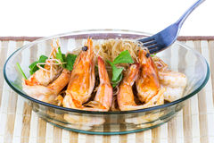 Shrimp baked with vermicelli Stock Photos
