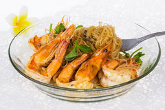 Shrimp baked with vermicelli Royalty Free Stock Photos