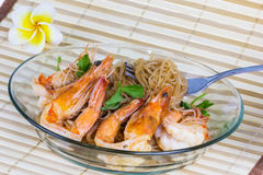 Shrimp baked with vermicelli Stock Photography