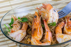 Shrimp baked with vermicelli Stock Images