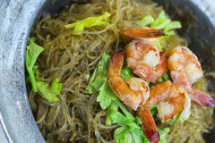 Shrimp Baked With Vermicelli Royalty Free Stock Image
