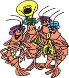Shrimp band. Shrimp playing in a band Royalty Free Stock Photos