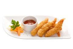 Shrimp in batter with vegetables isolated royalty free stock photo