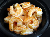 Shrimp in Black Bowl Stock Photography