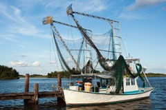 Shrimp boat. On the water Royalty Free Stock Photos