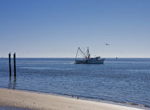 Shrimp Boat and Posts Royalty Free Stock Photos