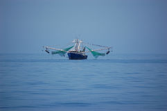 Shrimp boat at sea Royalty Free Stock Image