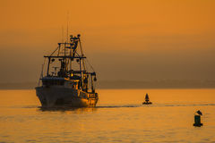 Shrimp Boat at sunset in the gulf. Shrimping Boat at sunset in the Gulf of Mexico in Florida coming to dock Royalty Free Stock Image