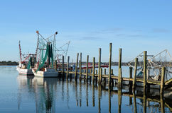 Shrimp Boats Trawler Docked Pier Waterway Stock Photography
