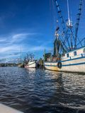 shrimp boats in the bayou stock images