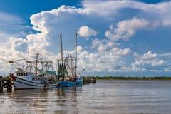 Shrimp boats. Docked shrimp boats in Biloxi Bay, Mississippi royalty free stock photography