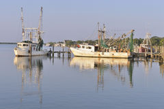 Shrimp boats in harbor Stock Photo