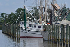 Shrimp boats moored by wooden pylons Stock Photo