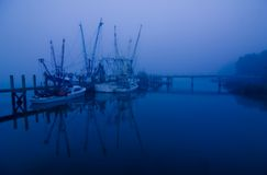 Shrimp boats at night Royalty Free Stock Image