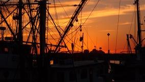 Shrimp Boats at sunset Royalty Free Stock Image