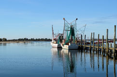 Shrimp Boats in the Waterway Stock Images