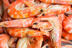 Shrimp boil background. On the market Royalty Free Stock Photo