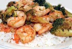 Shrimp and Broccoli Royalty Free Stock Photos