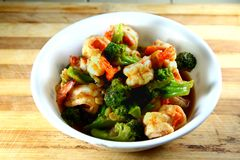 Shrimp and brocoli Royalty Free Stock Image