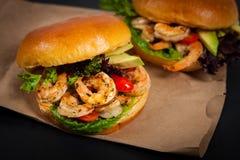 Shrimp Burgers Stock Photo
