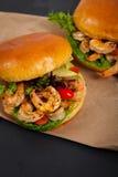 Shrimp Burgers Stock Photography