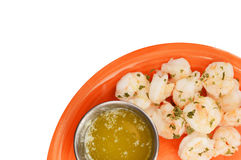 Shrimp and butter on white Royalty Free Stock Photo