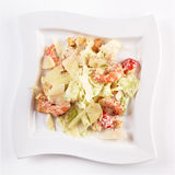 Shrimp Caesar salad. Isolated on white by clipping path Stock Photos