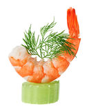 Shrimp canape with celery and dill twig Royalty Free Stock Image