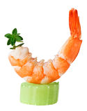 Shrimp canape with celery and thyme twig Stock Photos