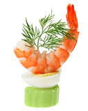Shrimp canape with quail egg and dill twig Stock Photos